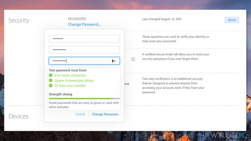 Change Apple ID password to fix