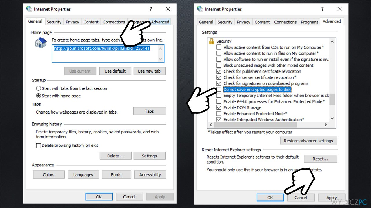 How to fix INET_E_DOWNLOAD_FAILURE on IE and Edge?