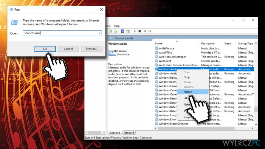 Restart Windows Audio service