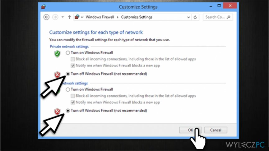 Disable Windows Firewall to fix ERR_CERT_COMMON_NAME_INVALID