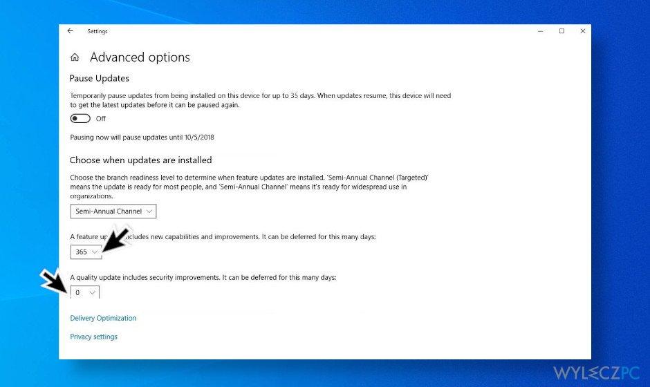 Postpone Windows 10 updates