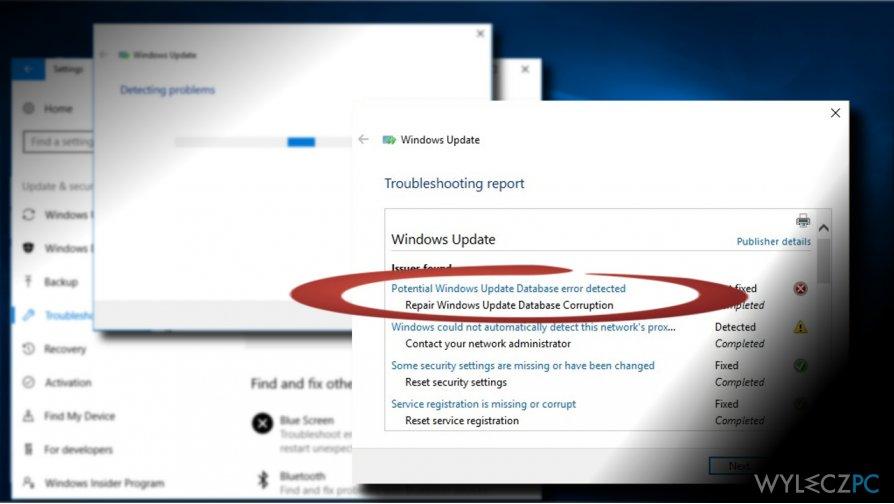 """showing """"Potential Windows update database error detected"""" error"""