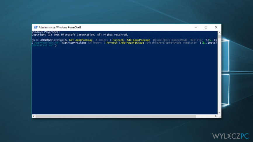 Re-register Windows 10 apps using PowerShell