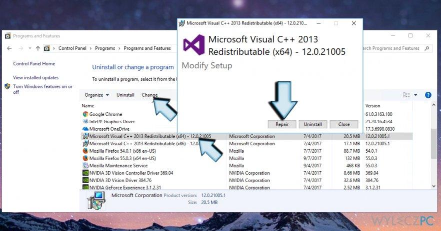 How to repair Microsoft Visual C++ 2015 Redistributable