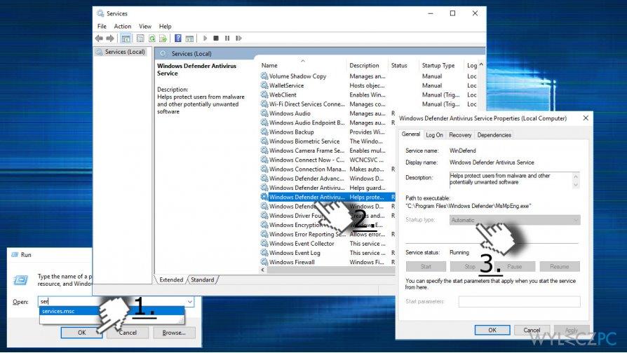 Change Windows Defender Startup type