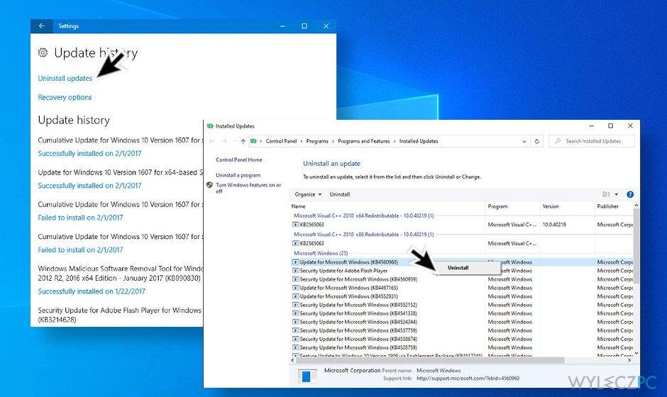 Uninstall the latest Windows 10 update