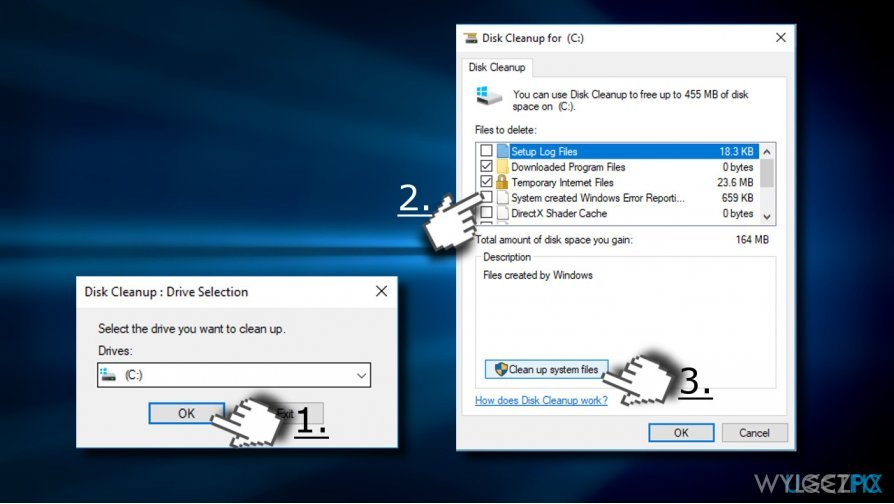 use disk cleanup tool