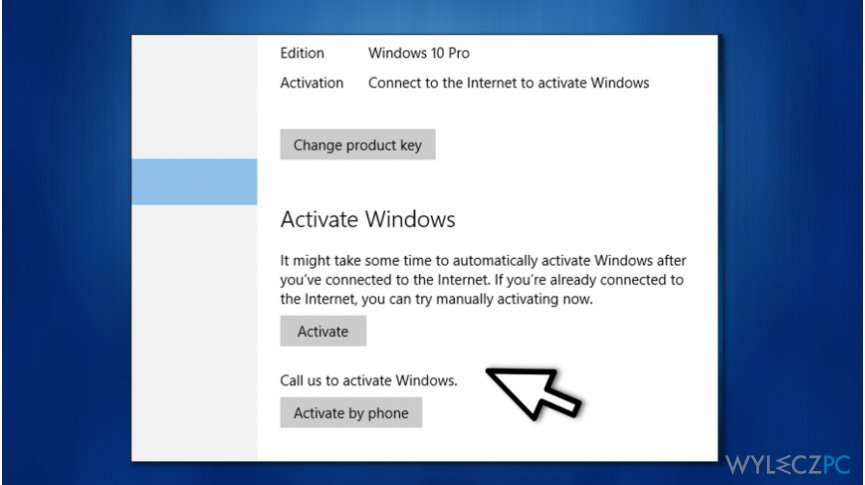 Choose to activate Windows online or by phone