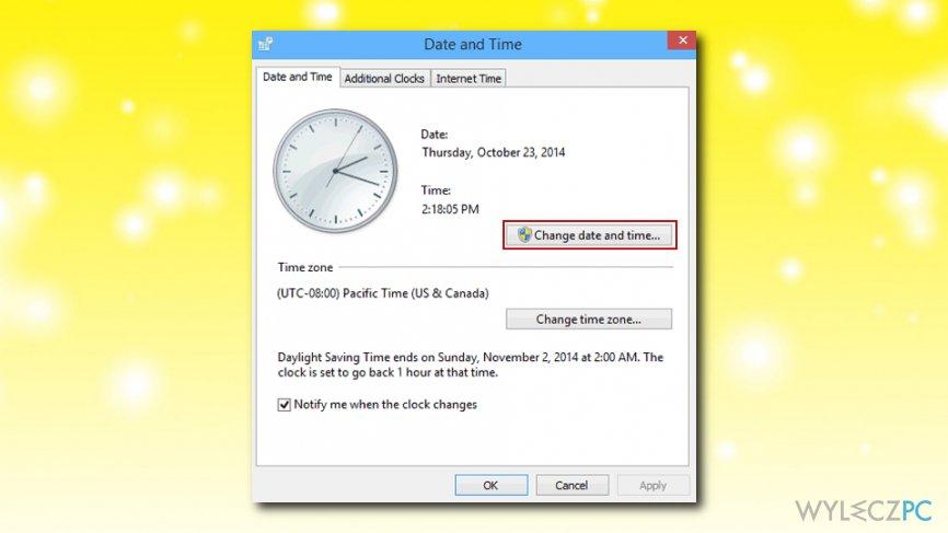 Windows Store error change date