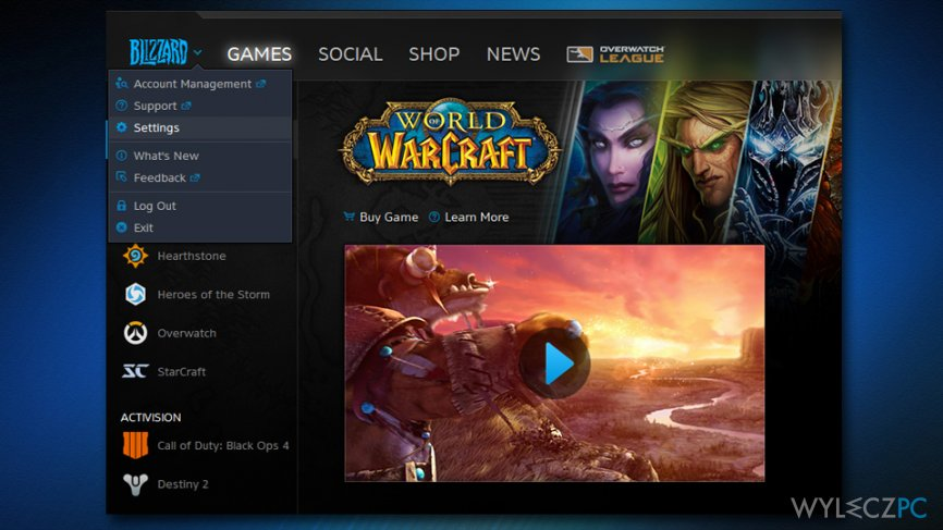 Reset World of Warcraft settings