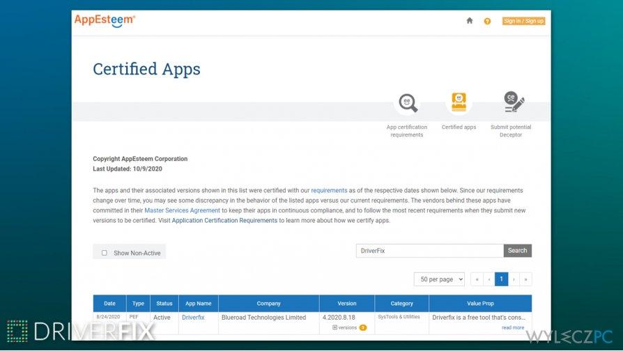 DriverFix AppEsteem certification